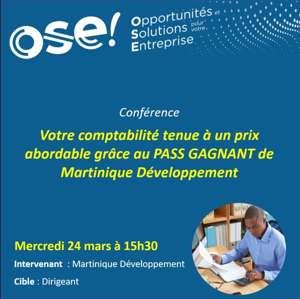 Votre comptabilité tenue à un prix abordable grâce au Pass Gagnant de Martinique Développement. - 24/03 15h30 (En ligne)