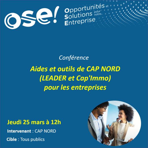 Aides et outils de CAP NORD (Leader et Cap'Immo) pour les entreprises - 25/03 12h (En ligne)