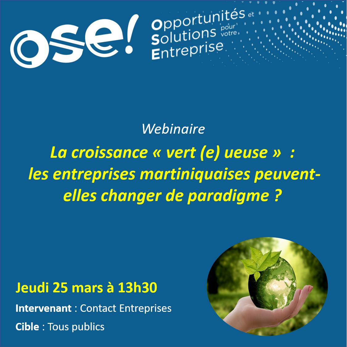 """La """" croissance verte ( e ) ueuse"""" : les entreprises martiniquaises peuvent-elles changer de paradigme ? - 25/03 13h30 (En ligne)"""