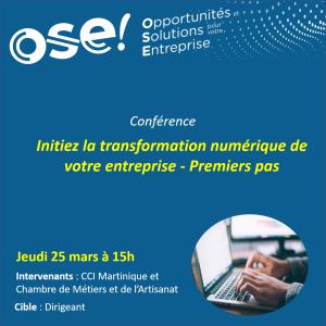 Initiez la transformation numérique de votre entreprise - Premiers pas  - 25/03 15h (Présentiel)