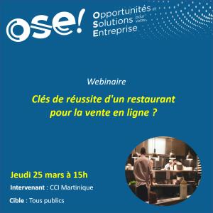Clés de réussite d'un restaurant pour la vente en ligne ?  - 25/03 15h (En ligne)