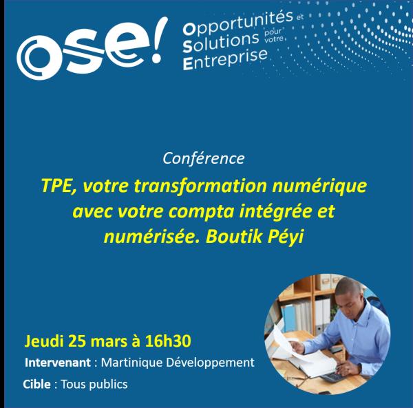 TPE, votre transformation numérique avec votre compta intégrée et numérisée. Boutik Péyi - 25/03 16h30 (Présentiel)