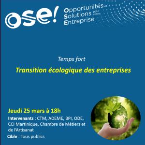 Temps fort : Transition écologique des entreprises - 25/03 18h (Présentiel)