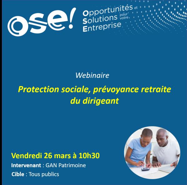 Protection sociale, prévoyance retraite du dirigeant - 26/03 10h30 (En ligne)