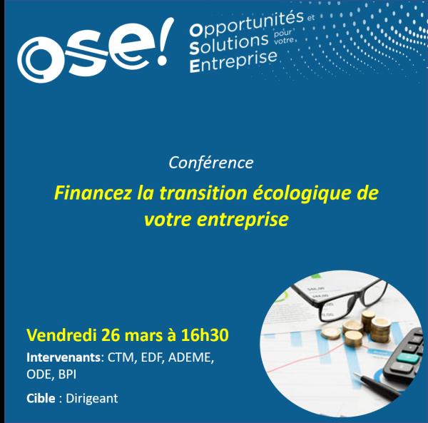 Financez la transition écologique de votre entreprise - 26/03 16h30 (En ligne)