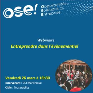 Entreprendre dans l'évènementiel  - 26/03 16h30 (En ligne)